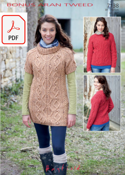 Hayfield 7138 Sweater and Tunic in Bonus Aran Tweed (PDF) Knit in a Box