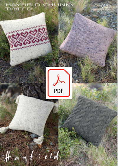 Hayfield 7496 Cushion Covers in Chunky Tweed (PDF) Knit in a Box