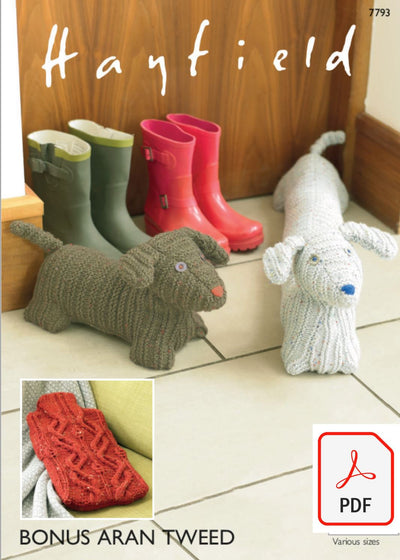 Hayfield 7793 Hot Water Bottle Cover and Doggy Door Stop and Draught Excluder in Bonus Aran Tweed (PDF) Knit in a Box