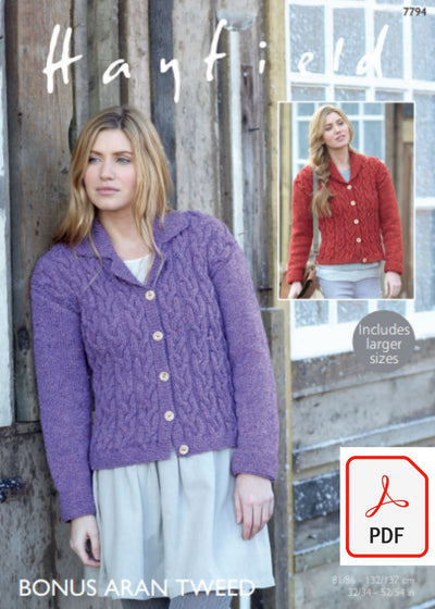 Hayfield 7794 Jackets in Bonus Aran Tweed (PDF) Knit in a Box