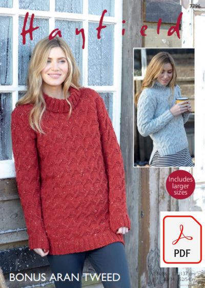 Hayfield 7796 Sweater Dress and Sweater in Bonus Aran Tweed (PDF) Knit in a Box