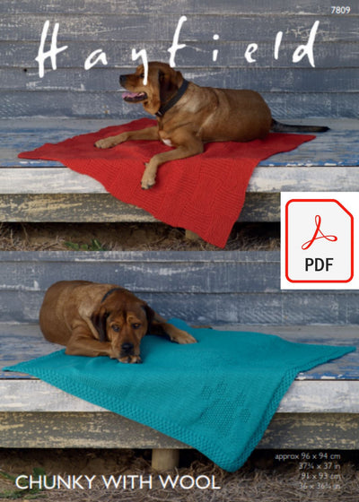 Hayfield 7809 Dog Blankets in Chunky with Wool (PDF) Knit in a Box