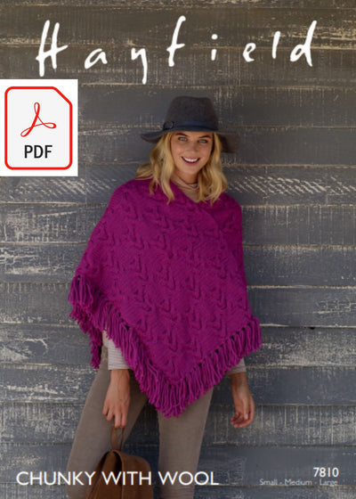 Hayfield 7810 Poncho in Chunky with Wool (PDF) Knit in a Box