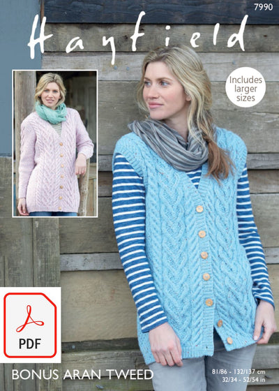 Hayfield 7990 Longline Waistcoat and Jacket in Bonus Aran Tweed (PDF) Knit in a Box