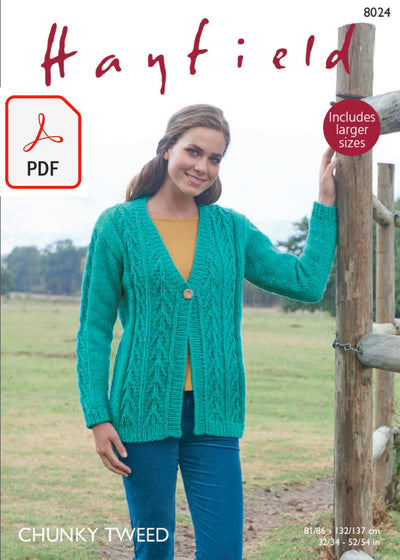 Hayfield 8024 V Neck Cardigan in Chunky Tweed (PDF) Knit in a Box