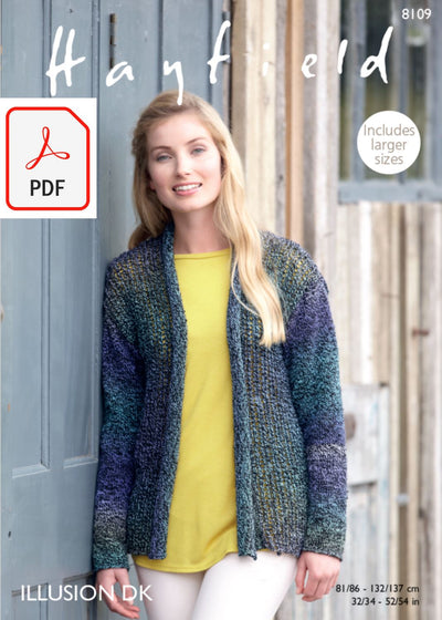 Hayfield 8109 Jacket in Illusion DK (PDF) Knit in a Box