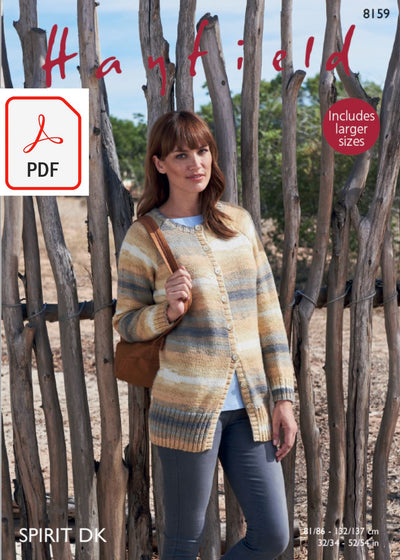 Hayfield 8159 Woman´s Jacket in Spirit DK (PDF) Knit in a Box