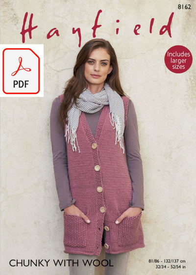 Hayfield 8162 Longline Waistcoat in Chunky with Wool (PDF) Knit in a Box