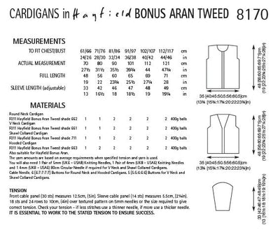 Hayfield 8170 Cardigans in Bonus Aran Tweed (PDF) Knit in a Box
