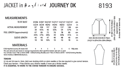 Hayfield 8193 Jacket in Journey DK (PDF) Knit in a Box