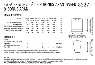 Hayfield 8227 Ladies Sweater in Bonus Aran Tweed & Bonus Aran (PDF) Knit in a Box