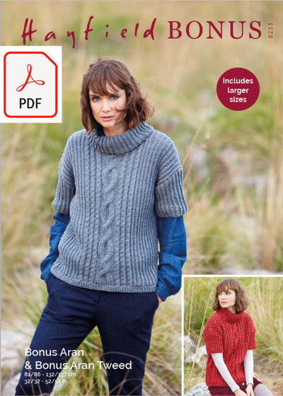 Hayfield 8233 Ladies Sweater in Bonus Aran Tweed & Bonus Aran (PDF) Knit in a Box