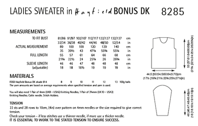 Hayfield 8285 Ladies Sweater in Hayfield Bonus DK (PDF) Knit in a Box