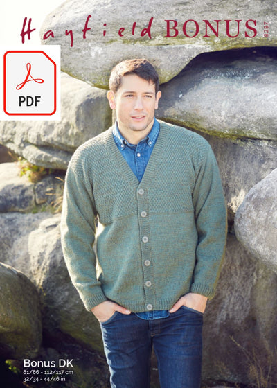 Hayfield 8287 Men's V Neck Cardigan in Hayfield Bonus DK (PDF) Knit in a Box