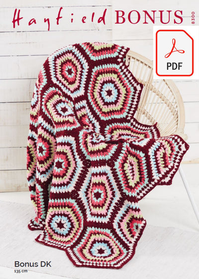 Hayfield 8300 Hexie Crochet Blanket in Bonus DK (PDF) Knit in a Box