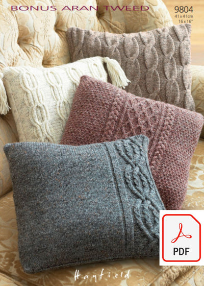 Hayfield 9804 Cushion Covers in Bonus Aran Tweed (PDF) Knit in a Box