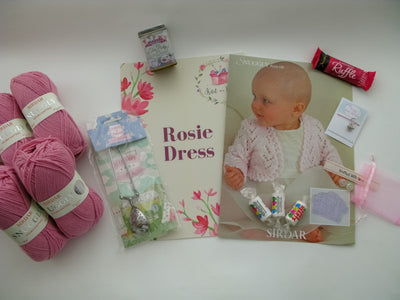 Rosie Dress Baby Box On Sale Now! Purple, Yellow, or Pink! Knit in a Box