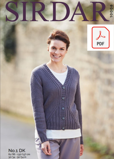 Sirdar 10006 Ladies Cardigan in Sirdar No 1 DK Knit in a Box