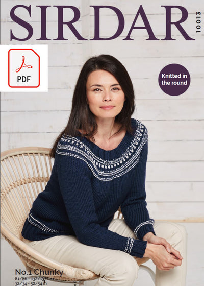 Sirdar 10013 Ladies Sweater in Sirdar No 1 Chunky (PDF) Knit in a Box