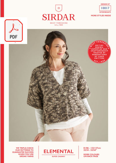 Sirdar 10017 Ladies Cardigan in Sirdar Elemental Super Chunky (PDF) Knit in a Box