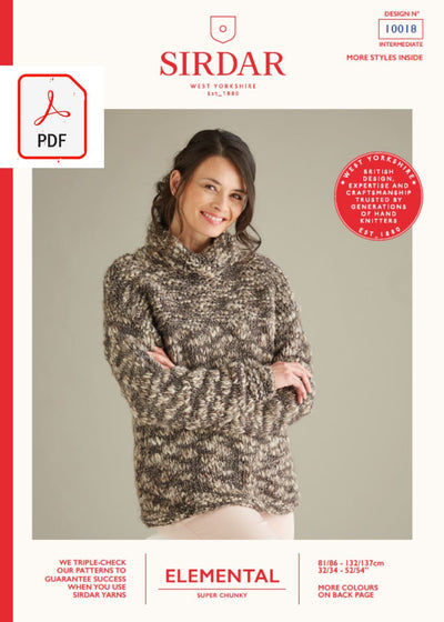 Sirdar 10018 Ladies Cowl Neck Sweater in Sirdar Elemental Super Chunky (PDF) Knit in a Box
