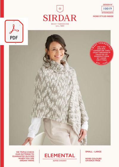 Sirdar 10019 Ladies Shawl in Sirdar Elemental Super Chunky (PDF) Knit in a Box