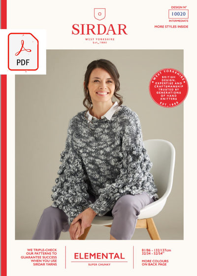 Sirdar 10020 Ladies Plain & Bobble Sleeve Sweater in Sirdar Elemental Super Chunky (PDF) Knit in a Box
