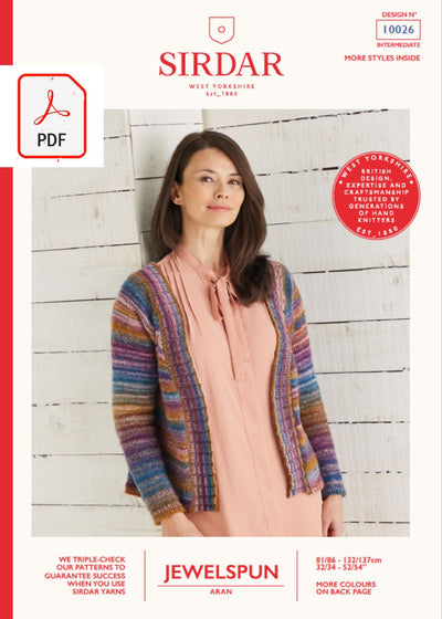 Sirdar 10026 Ladies Top Down Cardigan in Sirdar Jewelspun Aran (PDF) Knit in a Box
