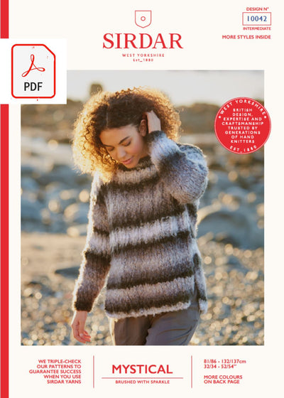 Sirdar 10042 Ladies Sweater in Sirdar Mystical Pattern (PDF) Knit in a Box