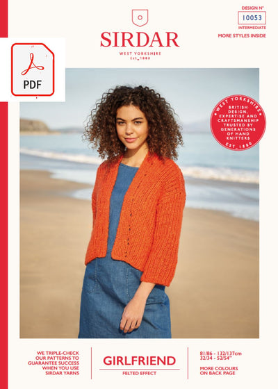 Sirdar 10053 Ladies Diagonal Rib Kimono in Sirdar Girlfriend (PDF) Knit in a Box