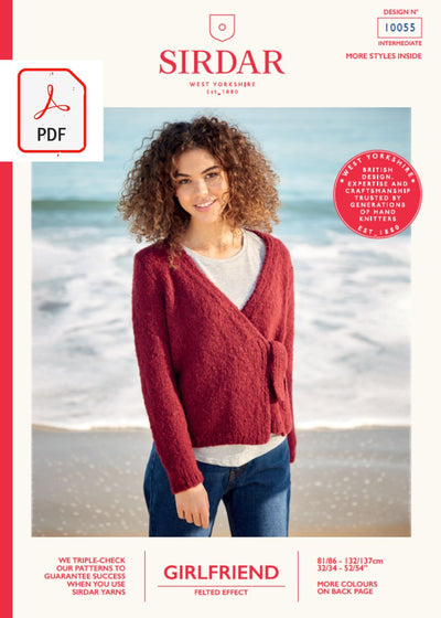 Sirdar 10055 Ladies Wrap Cardigan in Sirdar Girlfriend (PDF) Knit in a Box
