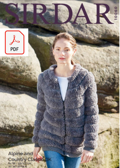 Sirdar 10060 Ladies Jacket in Sirdar Apline & Country Classic (PDF) Knit in a Box