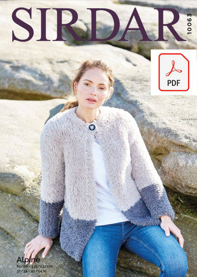 Sirdar 10063 Ladies Jacket in Sirdar Apline (PDF) Knit in a Box