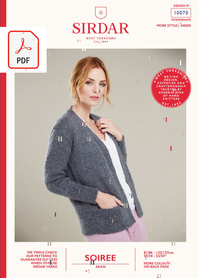 Sirdar 10070 Ladies V Neck Jacket in Sirdar Soiree Aran (PDF) Knit in a Box