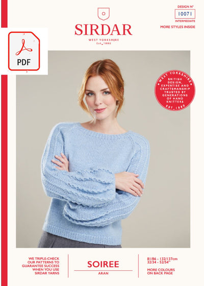 Sirdar 10071 Ladies Sweater with Puff Sleeves in Sirdar Soiree Aran (PDF) Knit in a Box