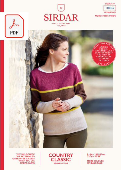 Sirdar 10086 Lady Three Colour Sweater in Sirdar Country Classic DK (PDF) Knit in a Box