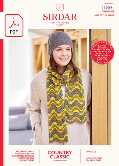 Sirdar 10089 Scarf & Hat in Sirdar Country Classic DK (PDF) Knit in a Box