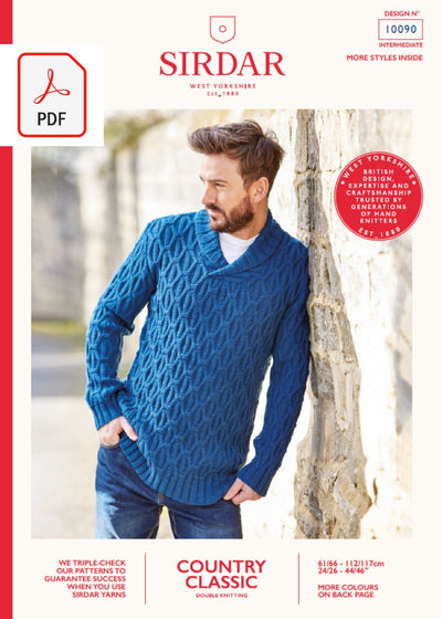 Sirdar 10090 Man Shawl Collar Sweater in Sirdar Country Classic DK (PDF) Knit in a Box