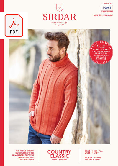 Sirdar 10091 Man Sweater in Sirdar Country Classic DK (PDF) Knit in a Box