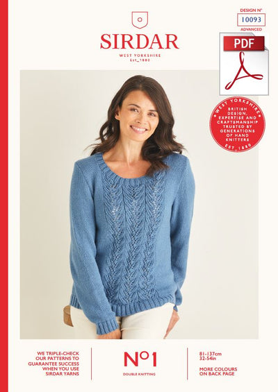 Sirdar 10093 Ladie Sweater in Sirdar No1 DK Knitting (PDF) Knit in a Box