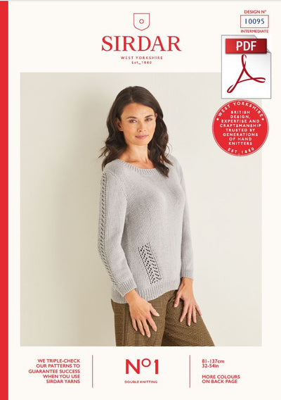 Sirdar 10095 Ladie Sweater in Sirdar No1 DK Knitting (PDF) Knit in a Box
