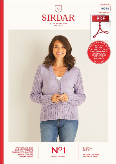 Sirdar 10098 Ladie Cardigan in Sirdar No1 DK Knitting (PDF) Knit in a Box