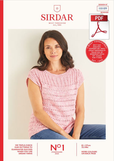 Sirdar 10109 Ladie Vest Top in No1 Stonewashed Aran Knitting (PDF) Knit in a Box