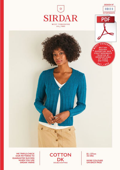 Sirdar 10111 Ladies Cardigan in Cotton DK (PDF) Knit in a Box
