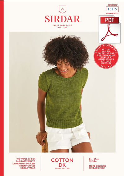 Sirdar 10115 Ladie Top in Cotton DK (PDF) Knit in a Box