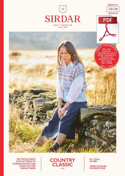 Sirdar 10128 Ladies Fair Isle Top in Country Classic 4 Ply Knitting (PDF) Knit in a Box