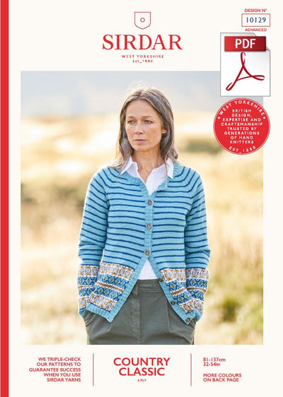 Sirdar 10129 Ladie Cardigan in Country Classic 4 Ply Knitting (PDF) Knit in a Box