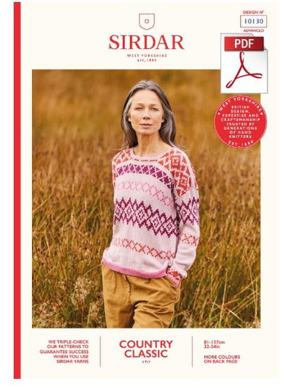 Sirdar 10130 Ladie Sweater in Country Classic 4 Ply Knitting (PDF) Knit in a Box