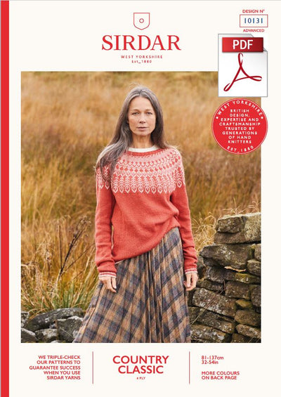 Sirdar 10131 Ladie Sweater in Country Classic 4 Ply Knitting (PDF) Knit in a Box