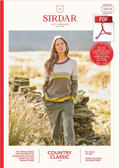 Sirdar 10133 Ladie Sweater in Country Classic 4 Ply Knitting (PDF) Knit in a Box